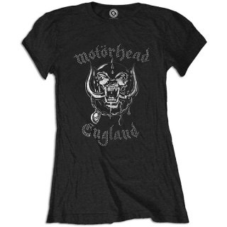 MOTORHEAD England With Rhinestone Application, レディースTシャツ