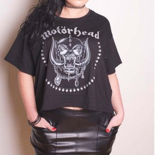 MOTORHEAD Skulls & Aces with Boxy Styling And Glitter Print Application, レディースTシャツ