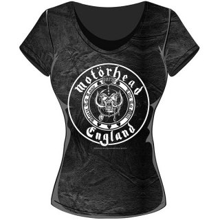MOTORHEAD England Seal With Acid Wash Finish, レディースTシャツ
