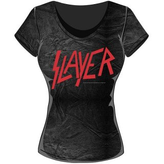 SLAYER Classic Logo With Acid Wash Finish, レディースTシャツ