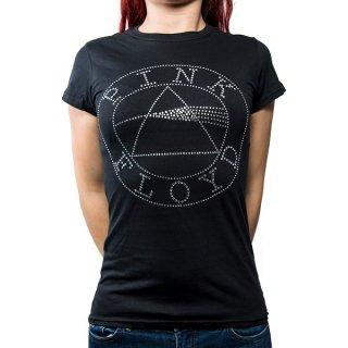 PINK FLOYD Circle Logo With Rhinestone Application, レディースTシャツ