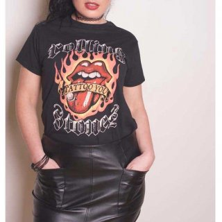 THE ROLLING STONES Flaming Tattoo Tongue, レディースTシャツ