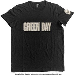 GREEN DAY Logo & Grenade with Applique Motifs, Tシャツ