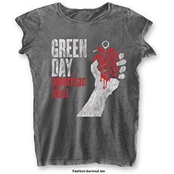 GREEN DAY American Idiot Vintage with Burn Out Finishing, レディースTシャツ