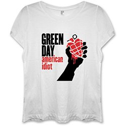 GREEN DAY American Idiot with Skinny Fitting Wht, レディースTシャツ