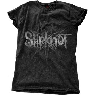 SLIPKNOT Logo Star with Snow Wash Finishing, レディースTシャツ