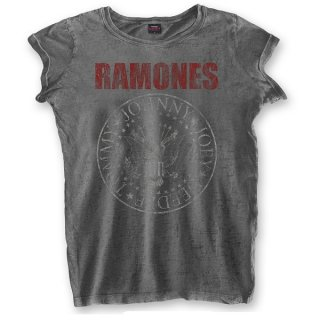 RAMONES Presidential Seal With Burn Out Finishing, レディースTシャツ