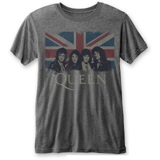 QUEEN Vintage Union Jack with Burn Out Finishing, Tシャツ
