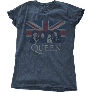 QUEEN Vintage Union Jack with Snow Wash Finishing, レディースTシャツ