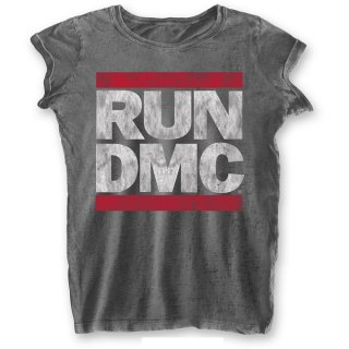 RUN DMC Dmc Logo with Burn Out Finishing, レディースTシャツ