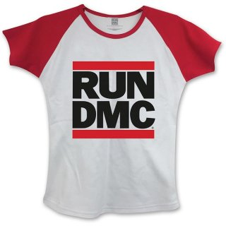RUN DMC Logo With Skinny Fitting Wred, レディースTシャツ