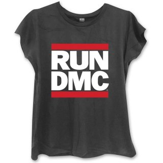 RUN DMC Logo With Skinny Fitting Blk, レディースTシャツ