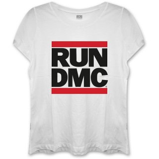 RUN DMC Logo With Skinny Fitting Whi, レディースTシャツ