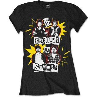 5 SECONDS OF SUMMER Punk Pop Photo, レディースTシャツ