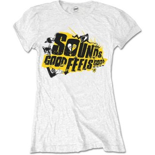 5 SECONDS OF SUMMER Sounds Good Album with Back Printing & Skinng Fitting, レディースTシャツ