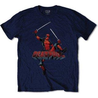 MARVEL COMICS Deadpool Logo Jump Navy, Tシャツ
