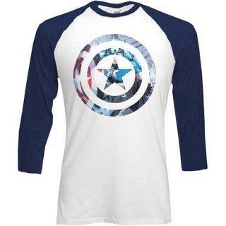 MARVEL COMICS Captain America Shield Block, ラグランTシャツ