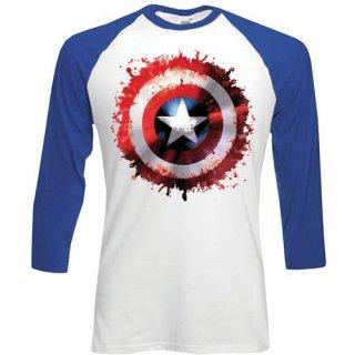 MARVEL COMICS Captain America Splat, ラグラン七分袖シャツ
