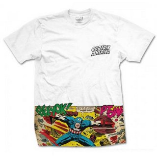 MARVEL COMICS Captain America Comic Strip Pocket with Sublimation Printing, Tシャツ