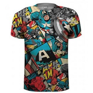 MARVEL COMICS Captain America Comic Strip with Sublimation Printing, Tシャツ