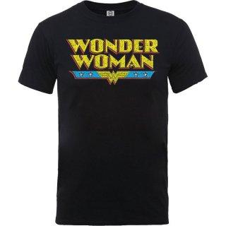 DC COMICS Wonder Woman Logo Crackle Blk, Tシャツ