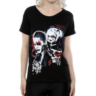 DC COMICS Suicide Squad Harley Quinn Puddin with Scoop Neck, レディースTシャツ