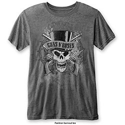 GUNS N' ROSES Faded Skull With Burn Out Finishing, Tシャツ
