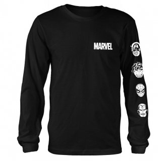 MARVEL COMICS Stacked Heads, ロングTシャツ