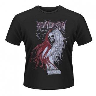 NEW YEARS DAY Long hair skull, Tシャツ