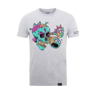 RICK AND MORTY Eyeball Skull Heather Grey, Tシャツ