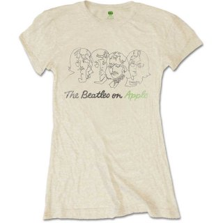 THE BEATLES Outline Faces On Apple, Tシャツ