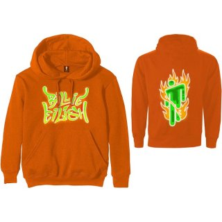 BILLIE EILISH Airbrush Flames Blohsh Orange, パーカー
