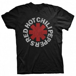 RED HOT CHILI PEPPERS Distressed Asterisk Blk, Tシャツ