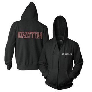 LED ZEPPELIN Logo & Symbols Black, Zip-Upパーカー