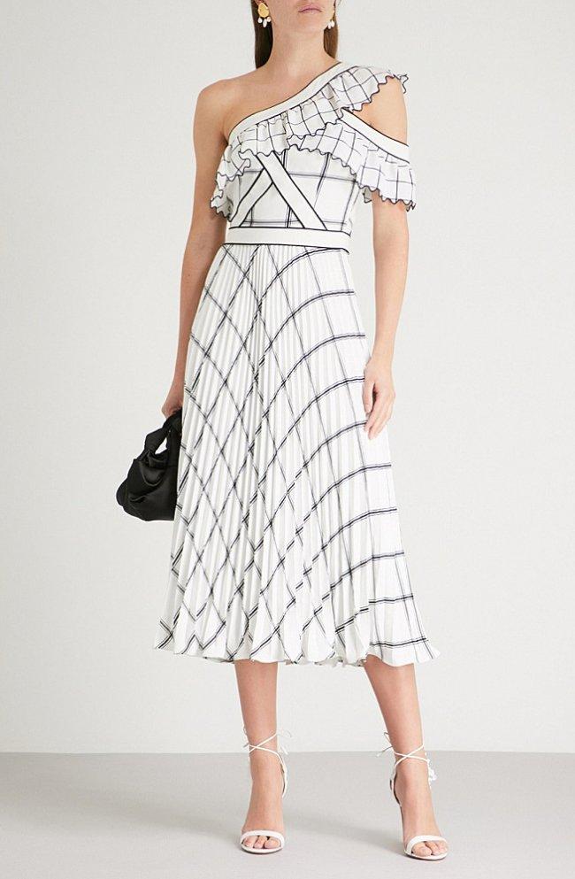 23a232247fd69 モノクロームチェック柄フリル ミディ丈ドレス 白黒. 画像をクリックすると拡大イメージを表示します。