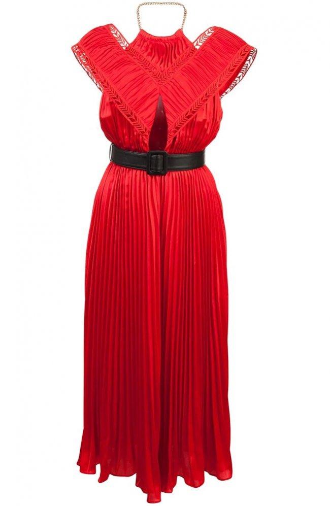 b378e1358bc61 アクロスショルダーホルターネックプリーツスカート ミディアム丈ドレス 赤. 画像をクリックすると拡大イメージを表示します。
