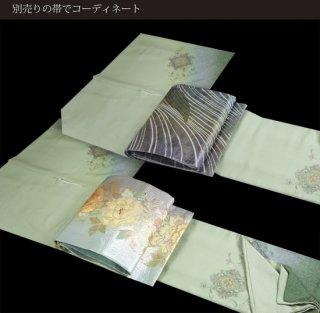 【訪問着[袷]】ミントグリーン汕頭(スワトウ)刺繍