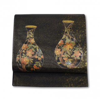 【太鼓柄袋帯】黒地の引箔 上品で可愛い桜壺紋 高級袋帯
