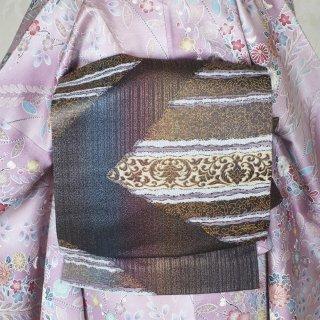 【六通袋帯】しなやかな紬地 茶色の濃淡に錆浅葱 表情豊かな洒落袋