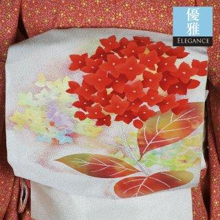 【名古屋帯】紫陽花の刺繍が美しい銀糸混じりの綴れ帯