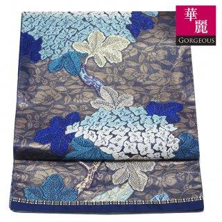 【六通袋帯】青地の唐織 美しい紫陽花