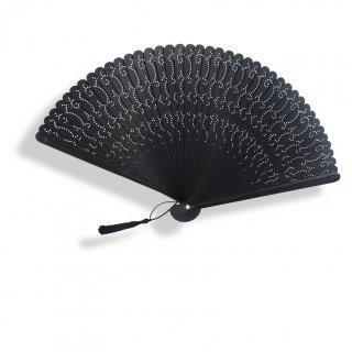【和装小物/扇子】全竹 透かし彫りの黒扇子