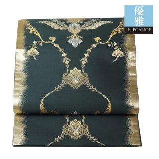 【六通袋帯】深い碧(みどり)の帯地を彩る、ゴールドの宝飾