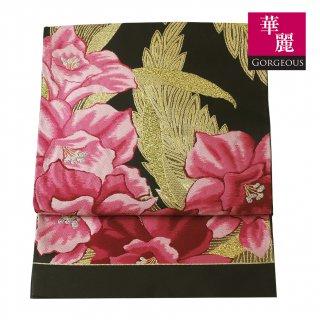 【六通袋帯】黒地に金糸 鮮やかな蘭の花