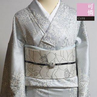 【小紋】 紗綾形のグレーに白い花