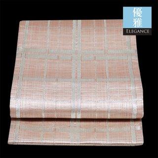 【袋帯 六通袋帯】淡いピンクに銀の格子