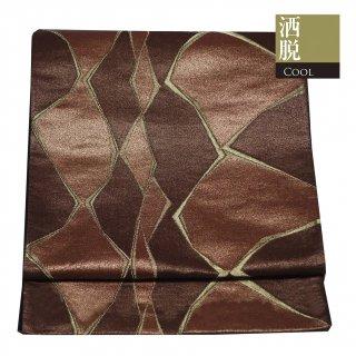 【袋帯 六通袋帯】赤茶と焦茶のプリミティブ模様に金のライン