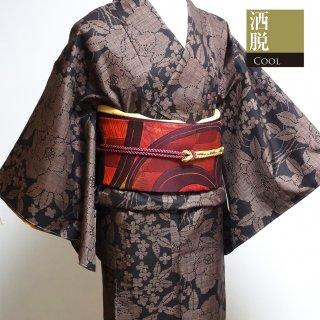 【紬】 茶色と黒の大柄な花模様