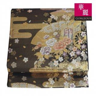 【六通袋帯】黒地に金糸のヱ霞 扇と御所車 桜と牡丹