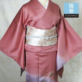 【付下げ】ピンクと薄紫の紗綾形綸子 花舟刺繍